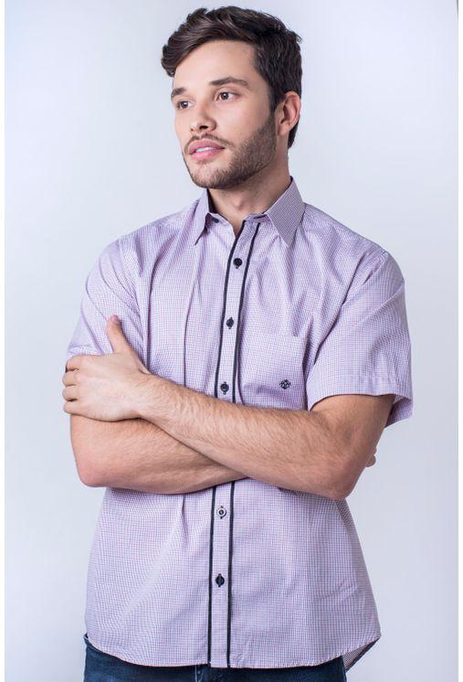 Camisa-casual-masculina-tradicional-algod-o-fio-50-vermelho-f01385a-frente
