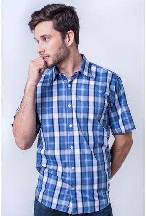 Camisa-casual-masculina-tradicional-algod-o-fio-50-xadrez-azul-m-dio-f04387a-frente