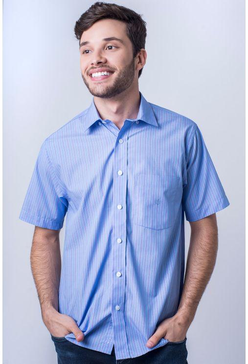 Camisa-casual-masculina-tradicional-algod-o-fio-80-azul-m-dio-f06021a-frente