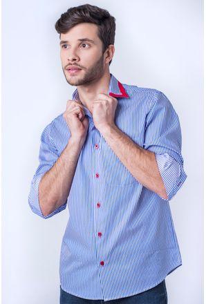 Camisa-casual-masculina-tradicional-algod-o-fio-60-azul-f01151a-frente