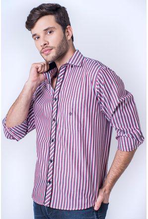 Camisa-casual-masculina-tradicional-algod-o-fio-50-vermelho-f01396a-frente