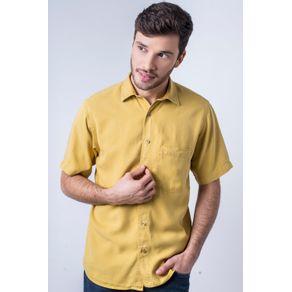 Camisa-casual-masculina-tradicional-tencel-mostarda-f06020a-frente