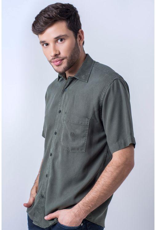 Camisa-casual-masculina-tradicional-tencel-verde-escuro-f06020a-frente