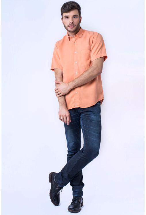 Camisa-casual-masculina-tradicional-tencel-laranja-f06020a-detalhe2