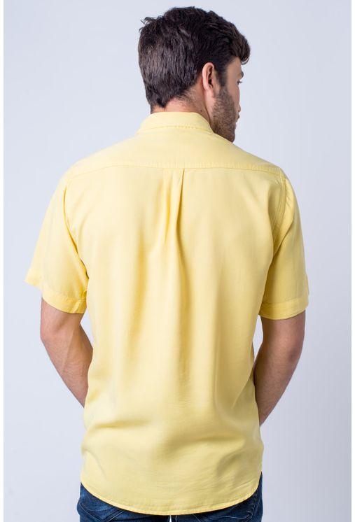 Camisa-casual-masculina-tradicional-tencel-amarelo-f06020a-verso