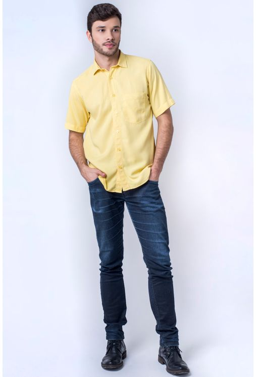 Camisa-casual-masculina-tradicional-tencel-amarelo-f06020a-detalhe2