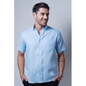 Camisa-casual-masculina-tradicional-cambraia-de-linho-azul-claro-f03943a-frente