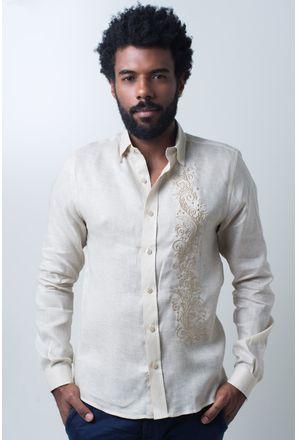 Camisa-casual-masculina-slim-cambraia-de-linho-bege-f01917s-frente