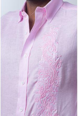 Camisa-casual-masculina-slim-cambraia-de-linho-rosa-f01917s-detalhe1