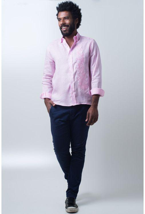 Camisa-casual-masculina-slim-cambraia-de-linho-rosa-f01917s-frente