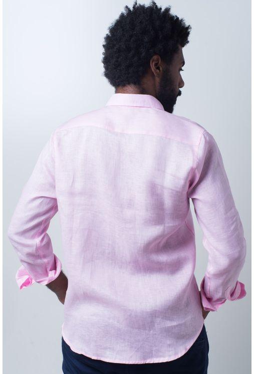 Camisa-casual-masculina-slim-cambraia-de-linho-rosa-f01917s-verso