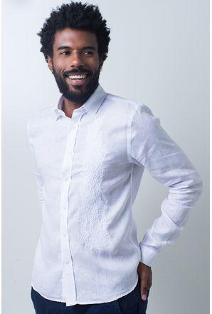 Camisa-casual-masculina-slim-cambraia-de-linho-branco-f01917s-frente