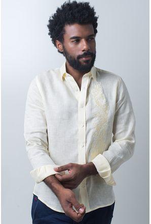 Camisa-casual-masculina-slim-cambraia-de-linho-amarelo-f01917s-frente
