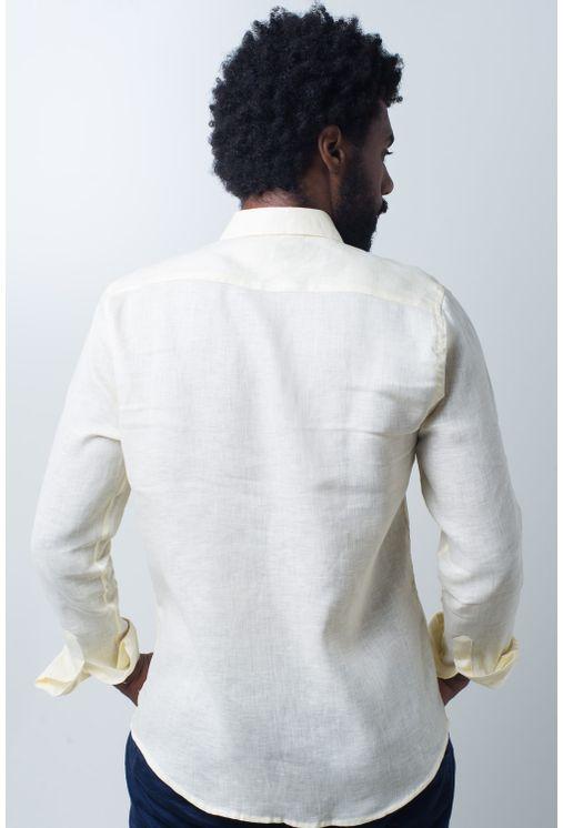 Camisa-casual-masculina-slim-cambraia-de-linho-amarelo-f01917s-verso