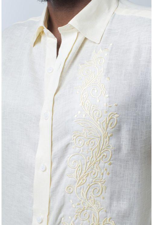 Camisa-casual-masculina-slim-cambraia-de-linho-amarelo-f01917s-detalhe1