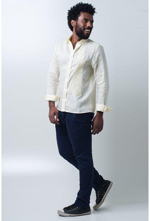 Camisa-casual-masculina-slim-cambraia-de-linho-amarelo-f01917s-detalhe2
