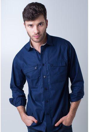 Camisa-casual-masculina-tradicional-algod-o-fio-50-azul-escuro-f01948a-frente
