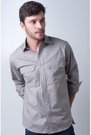 Camisa-casual-masculina-tradicional-algod-o-fio-50-marrom-f01948a-frente