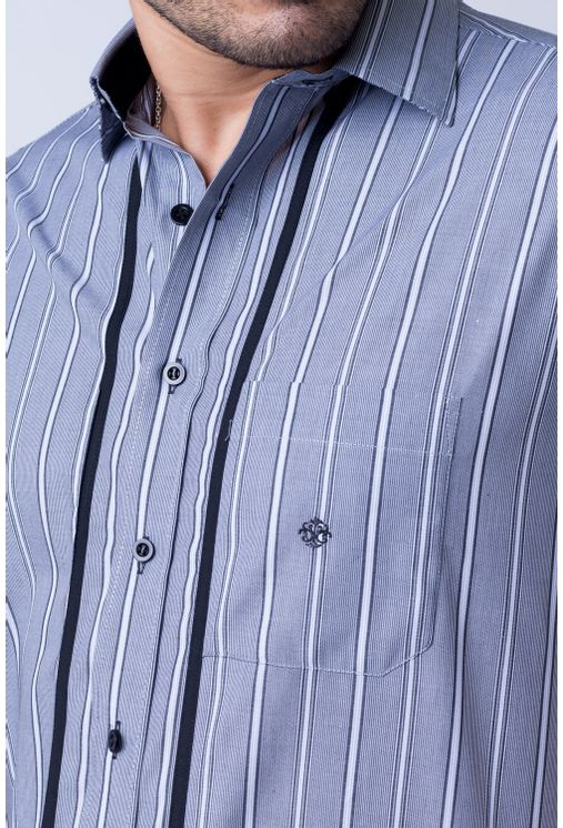 Camisa-casual-masculina-tradicional-algod-o-fio-50-cinza-f01197a-frente