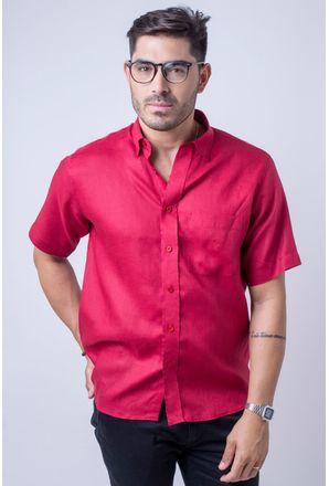 Camisa-casual-masculina-puro-linho-tradicional-vermelho-f03943a-frente