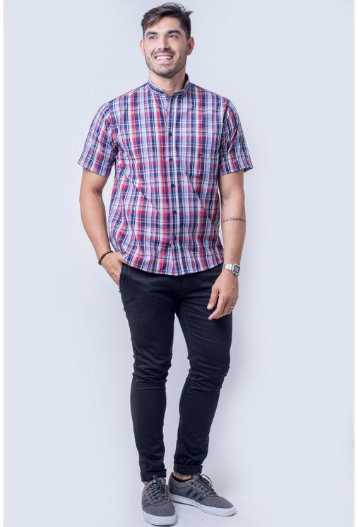 Camisa-casual-masculina-tradicional-algod-o-fio-40-azul-f01410a-frente