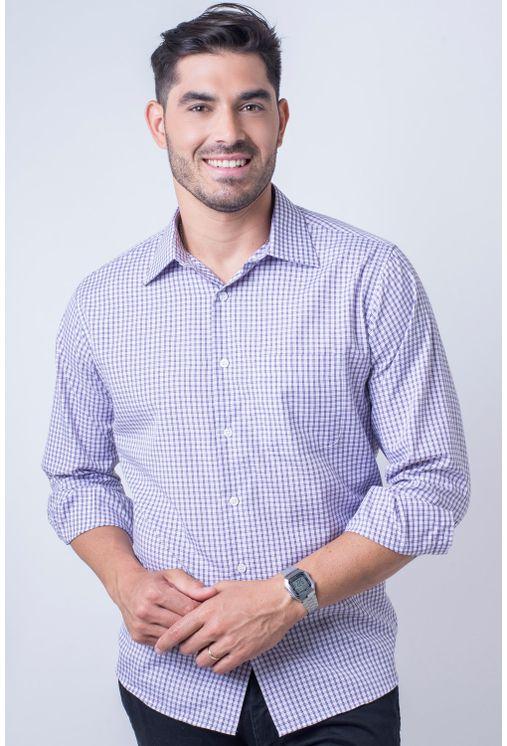 Camisa-casual-masculina-tradicional-algod-o-roxo-f05695a-frente