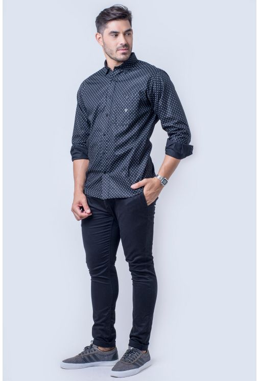 Camisa-casual-masculina-tradicional-algod-o-fio-40-preto-f01868a-frente