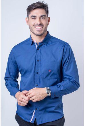 Camisa-casual-masculina-tradicional-algod-o-azul-escuro-f01755a-frente