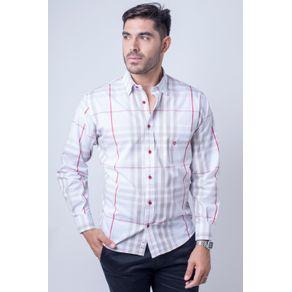 Camisa-casual-masculina-tradicional-algod-o-fio-50-bege-f01739a-frente