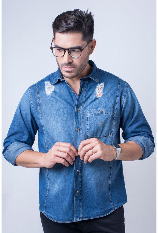 bc91c01756 Camisa casual masculina tradicional jeans azul f01823a - Camisaria ...