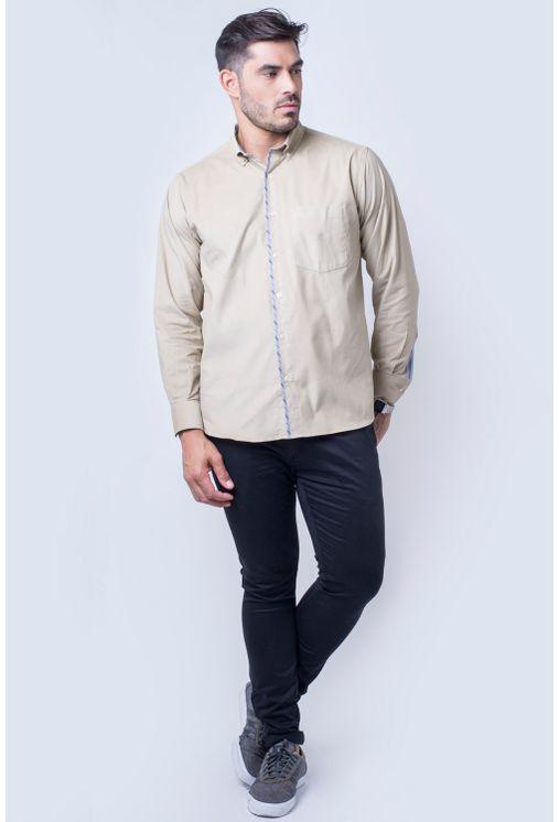 Camisa-casual-masculina-tradicional-veludo-bege-f01529a-frente