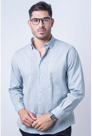 Camisa-casual-masculina-tradicional-linho-misto-cinza-f01293a-frente