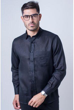 Camisa-casual-masculina-puro-linho-tradicional-preto-f03943a-frente