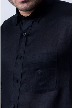 Camisa-casual-masculina-puro-linho-tradicional-preto-f03943a-detalhe1