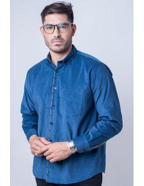9c07a59576 Camisa casual masculina tradicional veludo azul escuro f01529a 01 ...