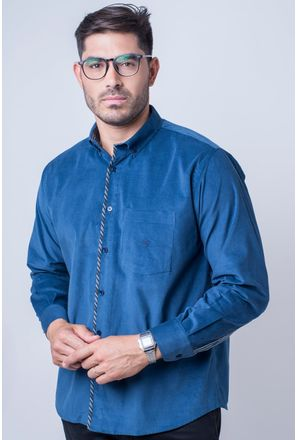 Camisa-casual-masculina-tradicional-veludo-azul-escuro-f01529a-frente