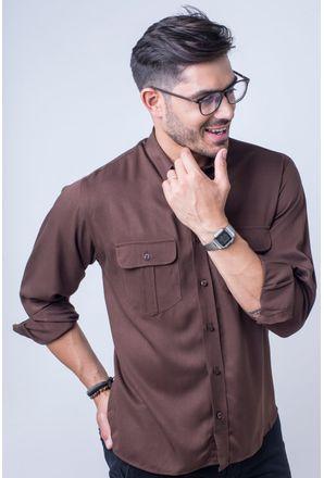Camisa-casual-masculina-tradicional-viscose-marrom-f00481a-frente