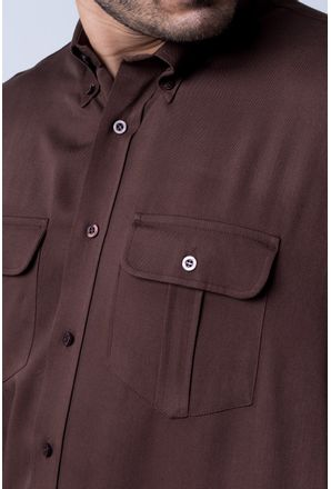 Camisa-casual-masculina-tradicional-viscose-marrom-f00481a-detalhe1