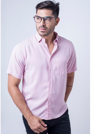 Camisa-casual-masculina-tradicional-tencel-rosa-f06020a-frente