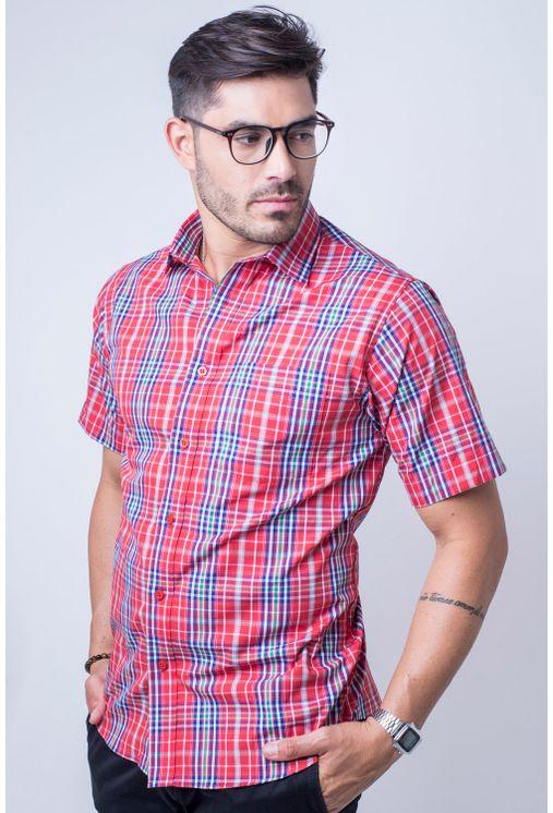 Camisa-casual-masculina-tradicional-algod-o-fio-50-vermelho-f04337a-frente