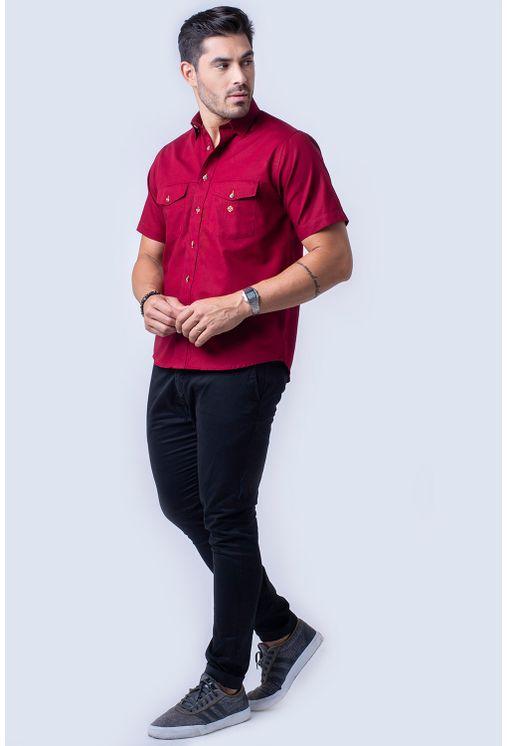 Camisa-casual-masculina-tradicional-sarjada-bordo-f01681a-4