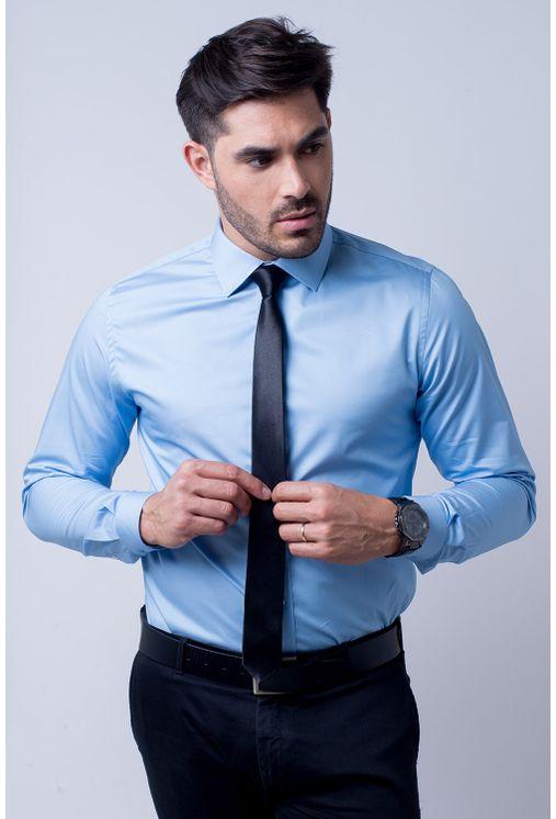 cca7a47c46 Camisa social masculina slim algodão fio 80 azul f05423s - Camisaria ...