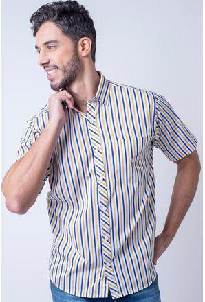 Camisa-casual-masculina-tradicional-algodao-fio-60-amarelo-f01275a-1