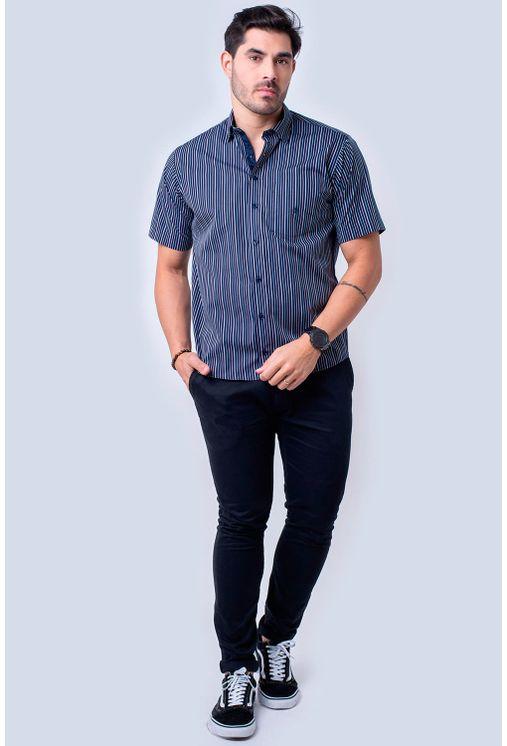 Camisa-casual-masculina-tradicional-algodao-fio-50-azul-escuro-f01463a-1