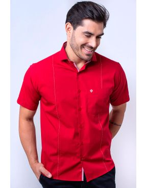 Camisaria Fascynios Oficial · Camisa Casual Masculina · Algodão Fio 60.  Camisa casual masculina tradicional algodão fio 60 vermelho f01145a 01 ... 5dbfeacd7f1eb