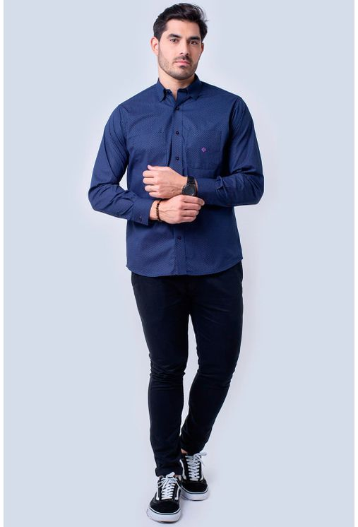 Camisa-casual-masculina-tradicional-algodao-fio-40-azul-escuro-f01862a-4