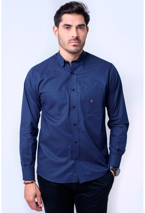 Camisa casual masculina tradicional algodão fio 40 azul escuro ... 0c7de39b092f0