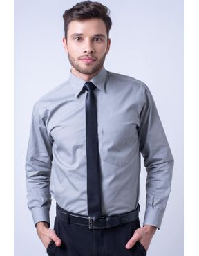 ebc40cafab Camisa social masculina tradicional algodão fio 40 cinza f09935a 01 ...