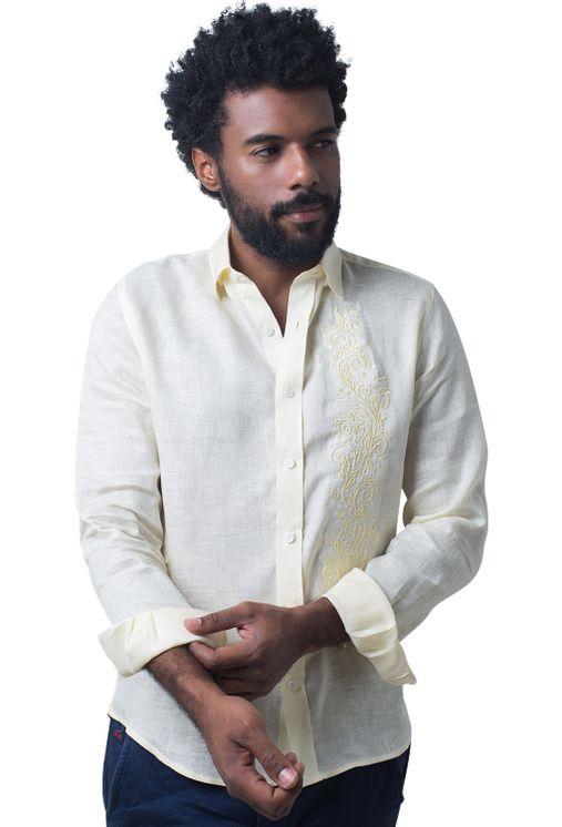 Camisa-casual-masculina-slim-cambraia-de-linho-amarelo-f01917s-5