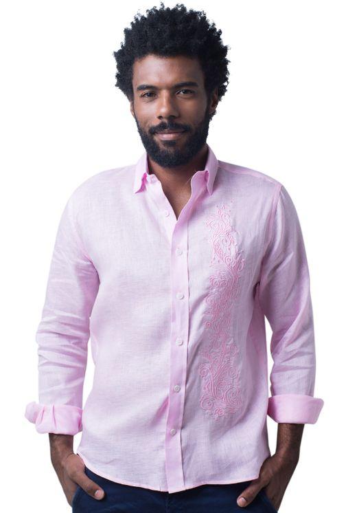 Camisa-casual-masculina-slim-cambraia-de-linho-rosa-f01917s-5